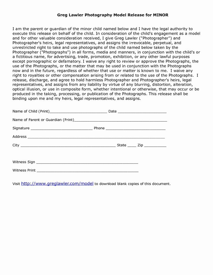 Talent Release form Template Lovely Minor Model Release form Template