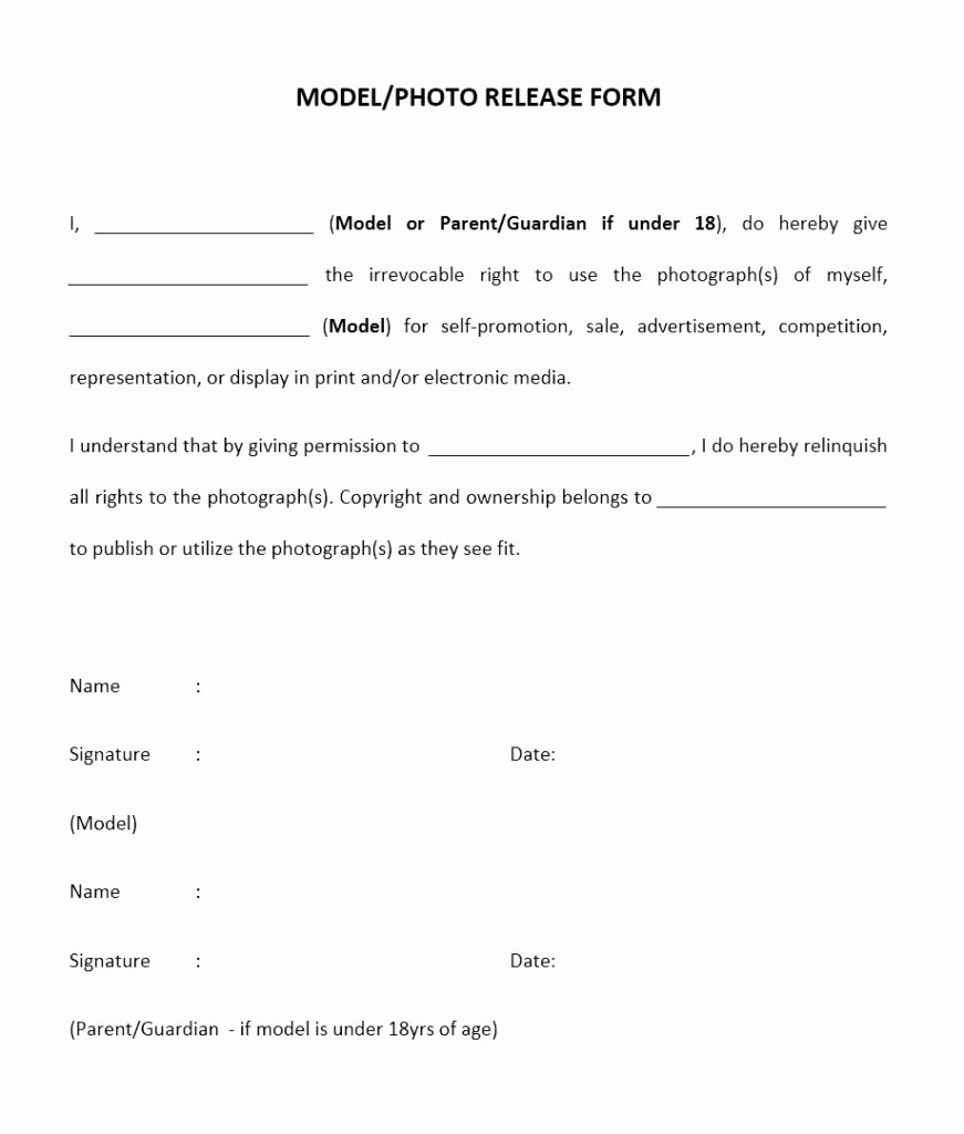 Talent Release form Template Lovely Model Release form