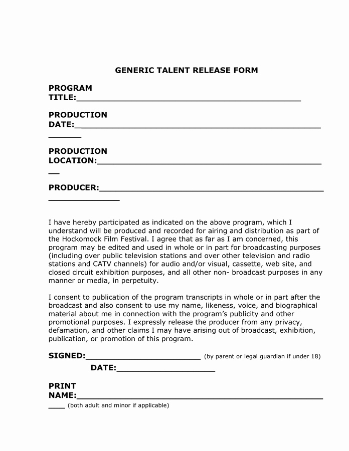 Talent Release form Template New Generic Talent Release form In Word and Pdf formats