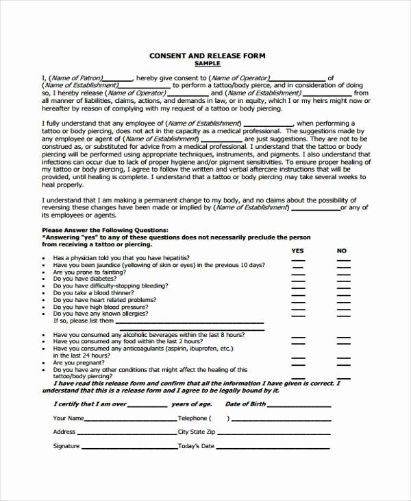 Tattoo Consent form Template Awesome Free 8 Sample Tattoo Release forms In Pdf