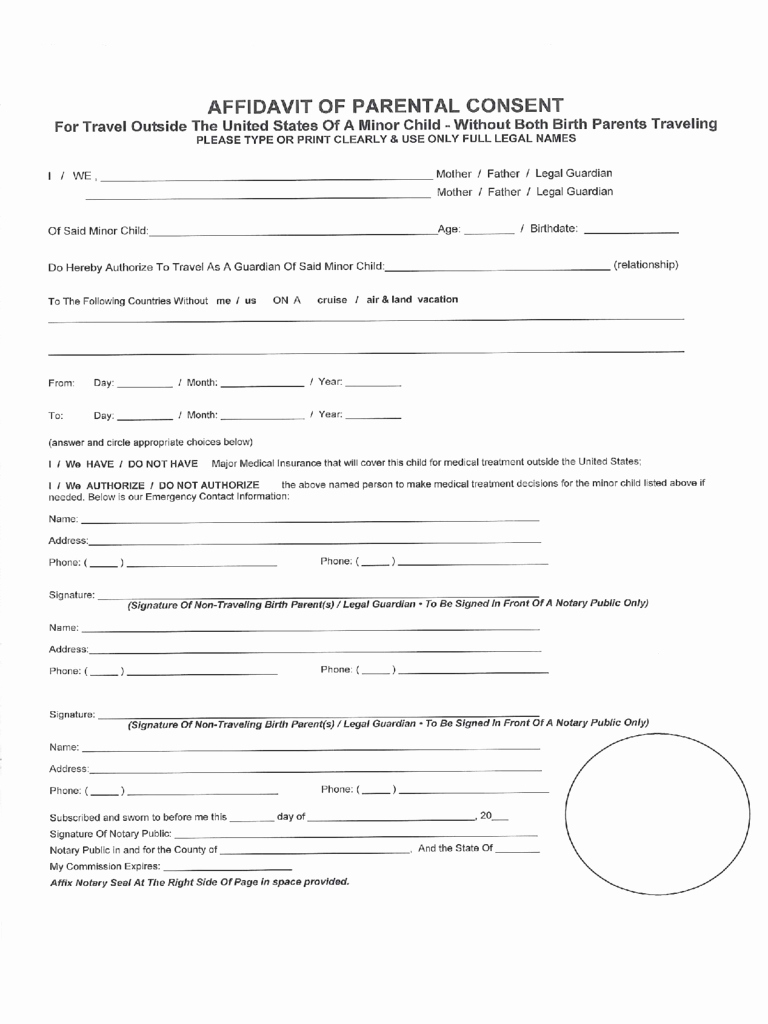 Tattoo Consent form Template Beautiful 2019 Minor Child Travel Consent form Fillable Printable