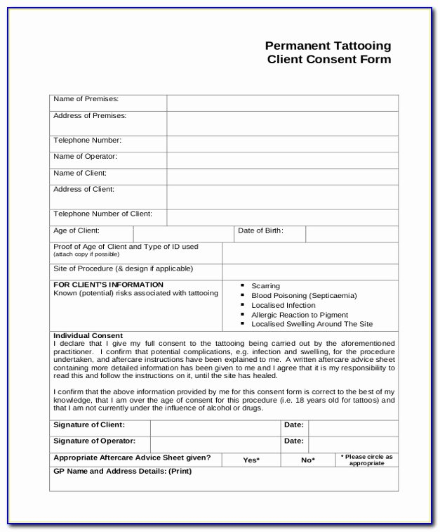 Tattoo Consent form Template Beautiful Permanent Makeup Consent form