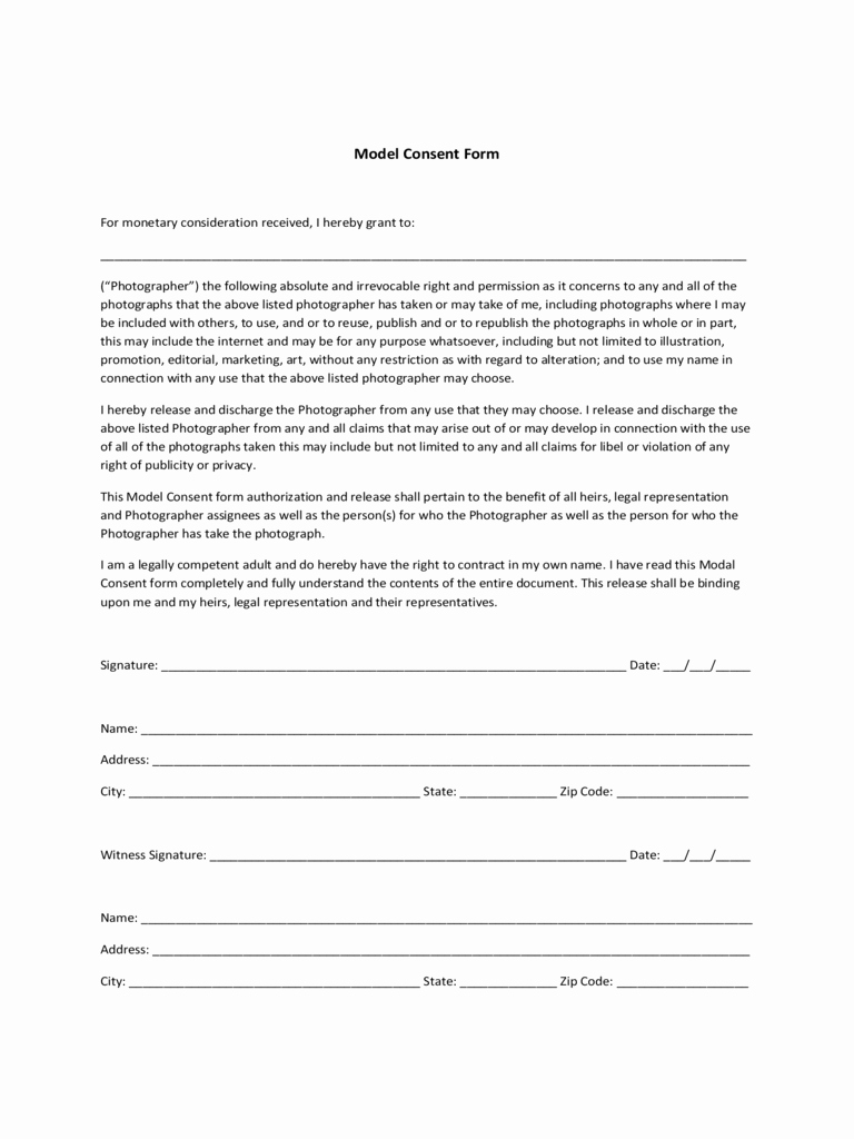 Tattoo Consent form Template Elegant 2019 Model Consent form Fillable Printable Pdf & forms