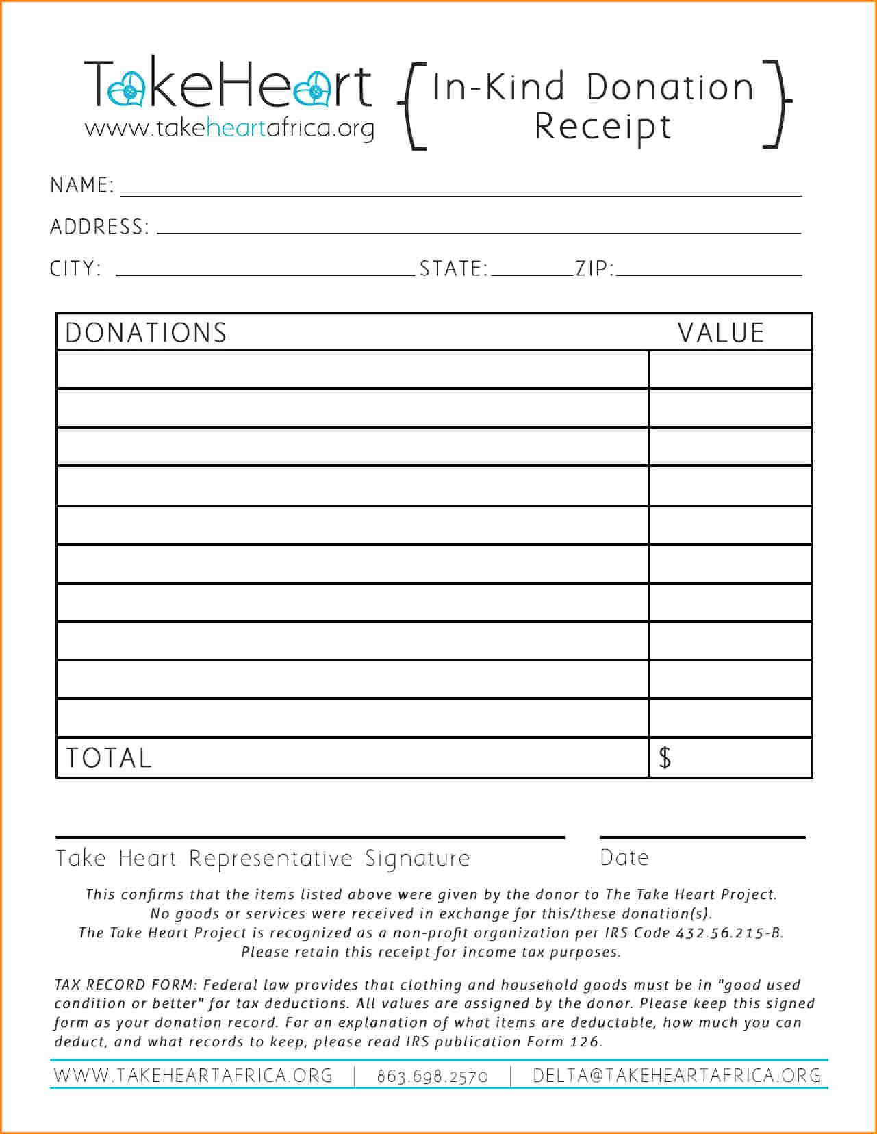 Tax Deductible Donation Receipt Template Awesome 7 Receipt for Tax Deductible Donation