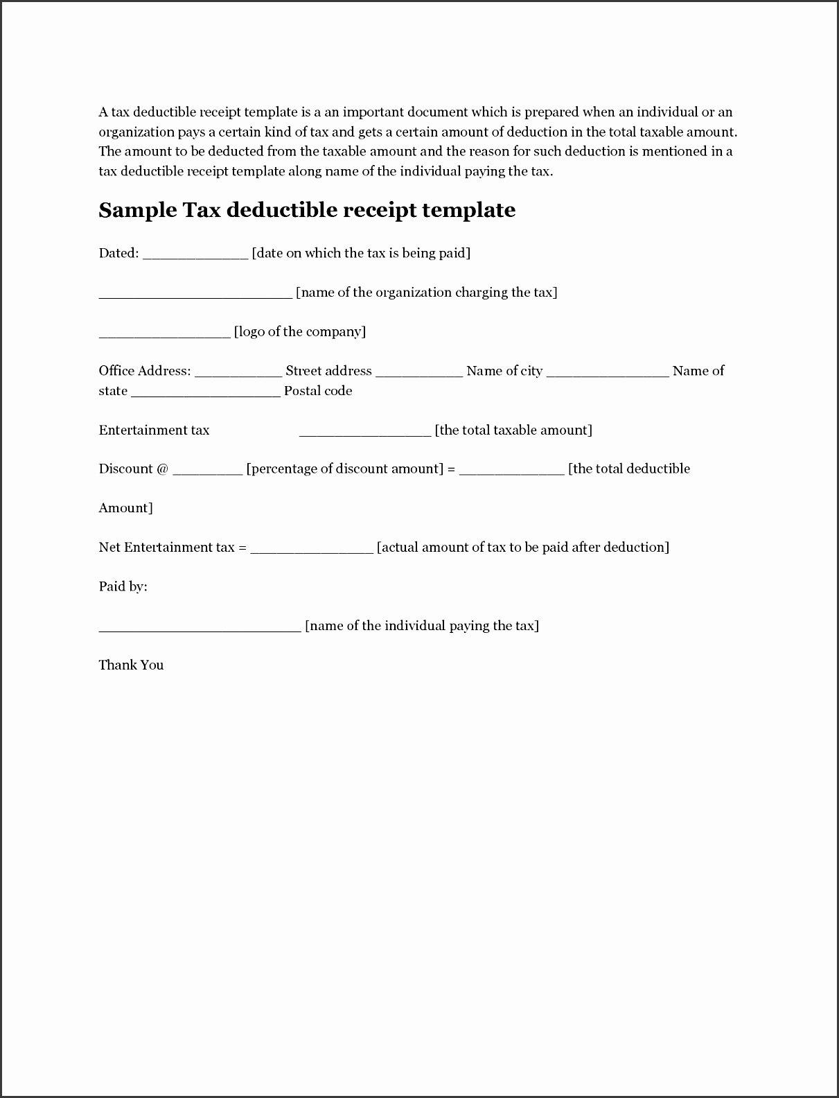 Tax Deductible Donation Receipt Template Best Of 6 Tax Donation Receipt Template Sampletemplatess