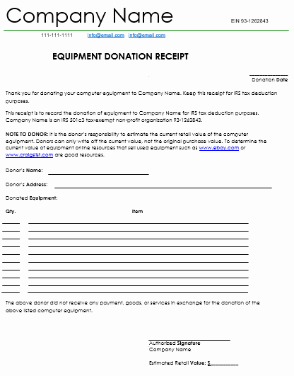 Tax Deductible Donation Receipt Template Best Of Donation Receipt Template 12 Free Samples In Word and Excel
