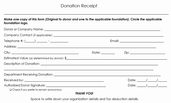 Tax Deductible Donation Receipt Template Elegant Donation Receipt Template 12 Free Samples In Word and Excel