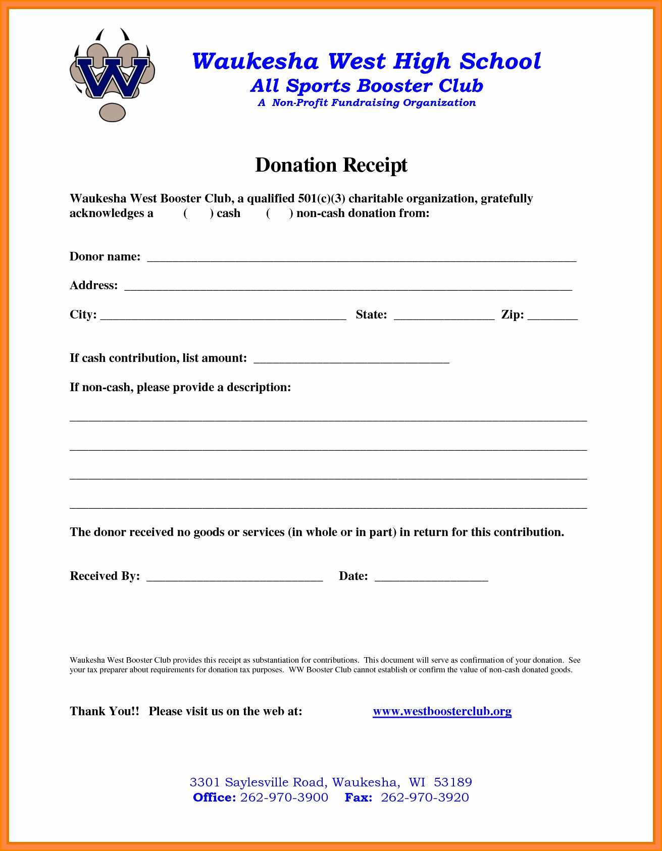 Tax Deductible Donation Receipt Template New 5 501c3 Donation Receipt