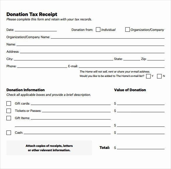 Tax Deductible Donation Receipt Template New Free 20 Donation Receipt Templates In Pdf
