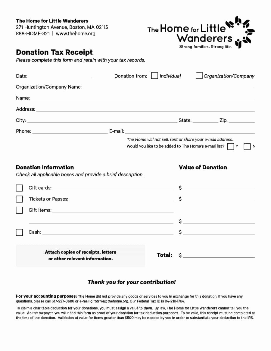 Tax Donation Receipt Template Best Of 40 Donation Receipt Templates & Letters [goodwill Non Profit]
