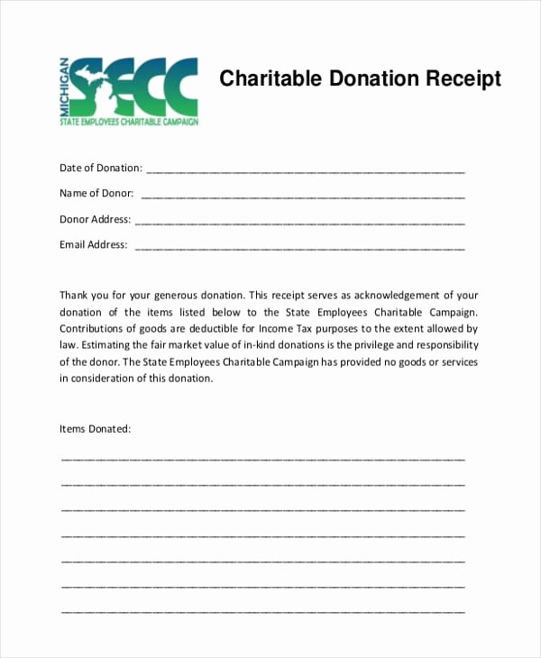 Tax Donation Receipt Template Best Of 5 Charitable Donation Receipt Templates formats