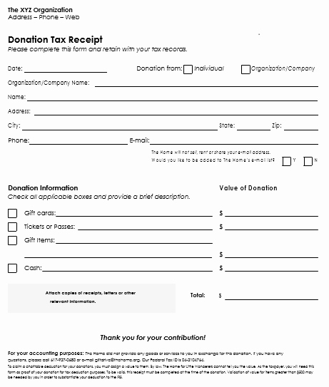 Tax Donation Receipt Template Unique Donation Receipt Template 12 Free Samples In Word and Excel