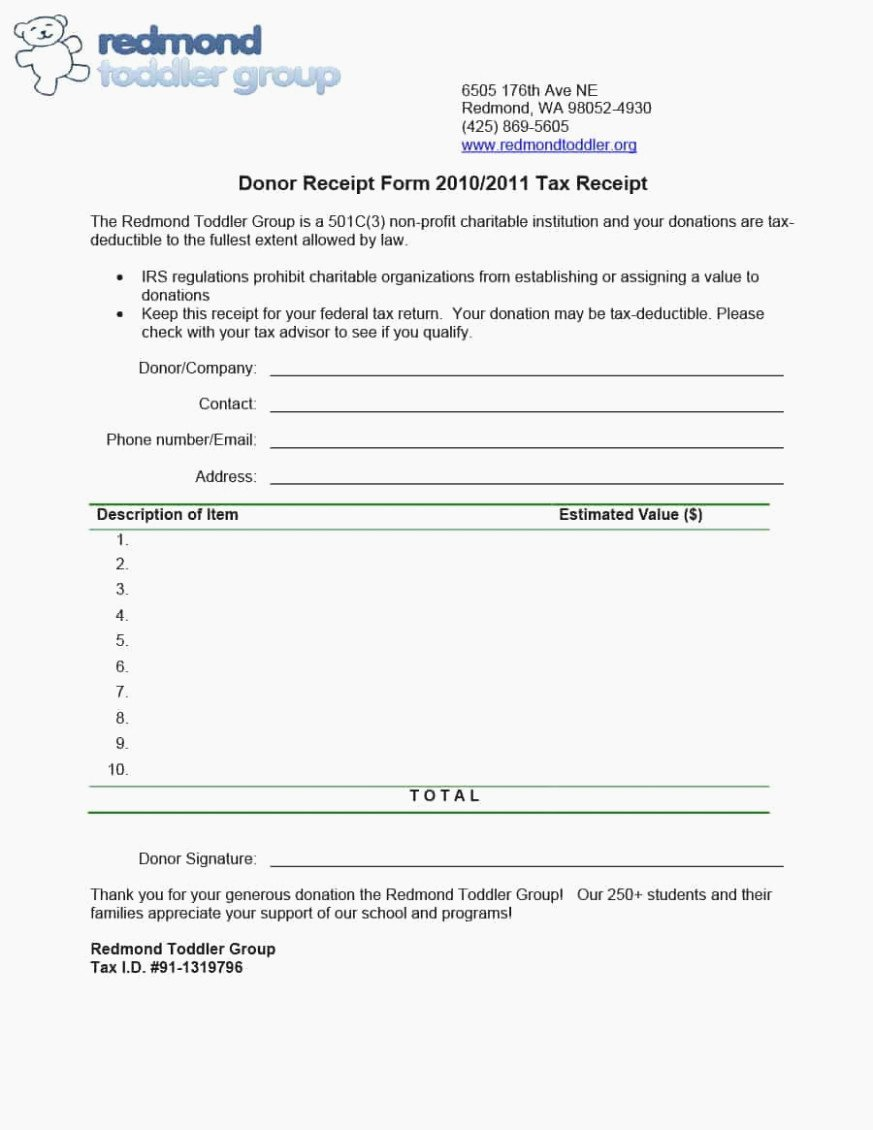 Tax Donation Receipt Template Unique Tax Deductible Donation form Will Be