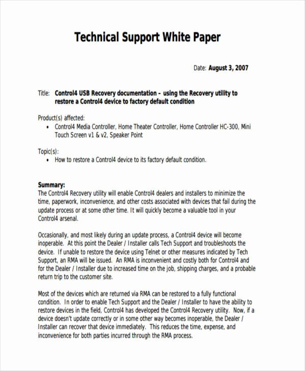 Technical White Paper Template Lovely 35 Sample White Papers