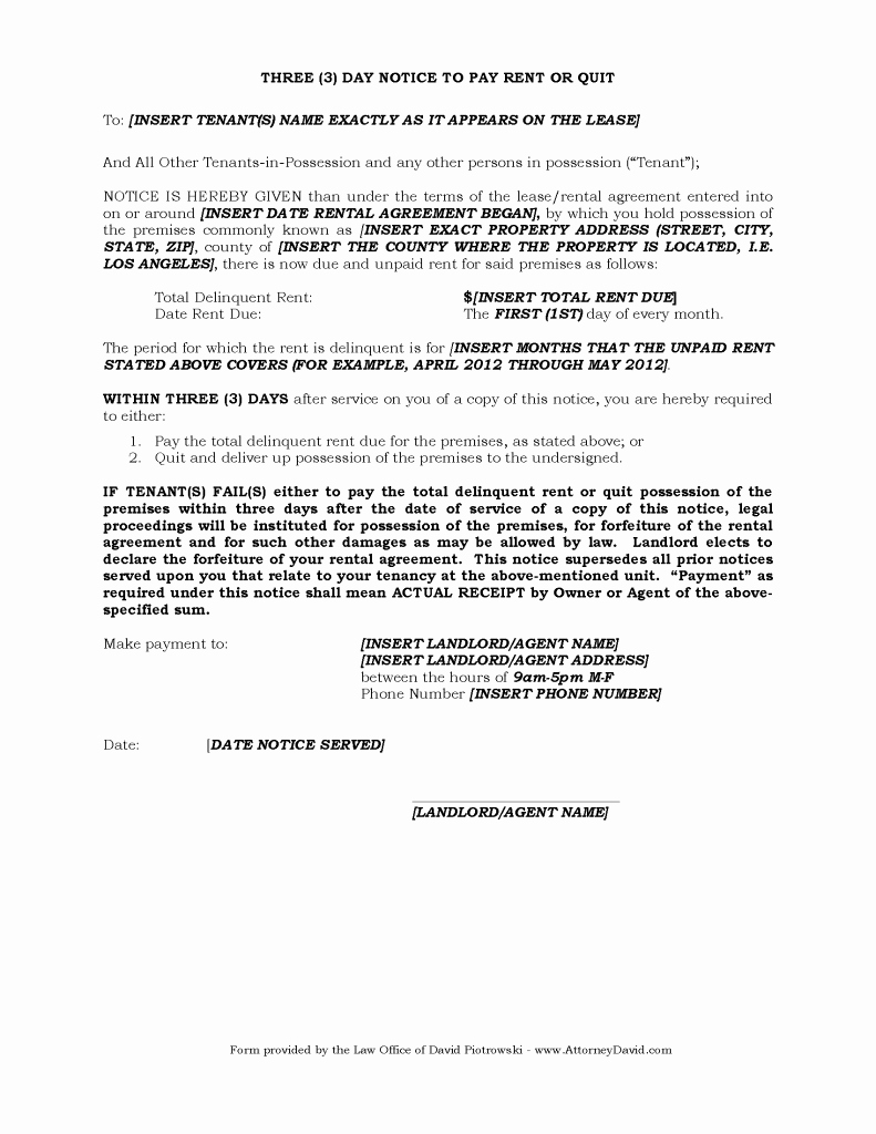 Template for Eviction Notice Fresh 3 Day Eviction Notice for Non Payment Of Rent In