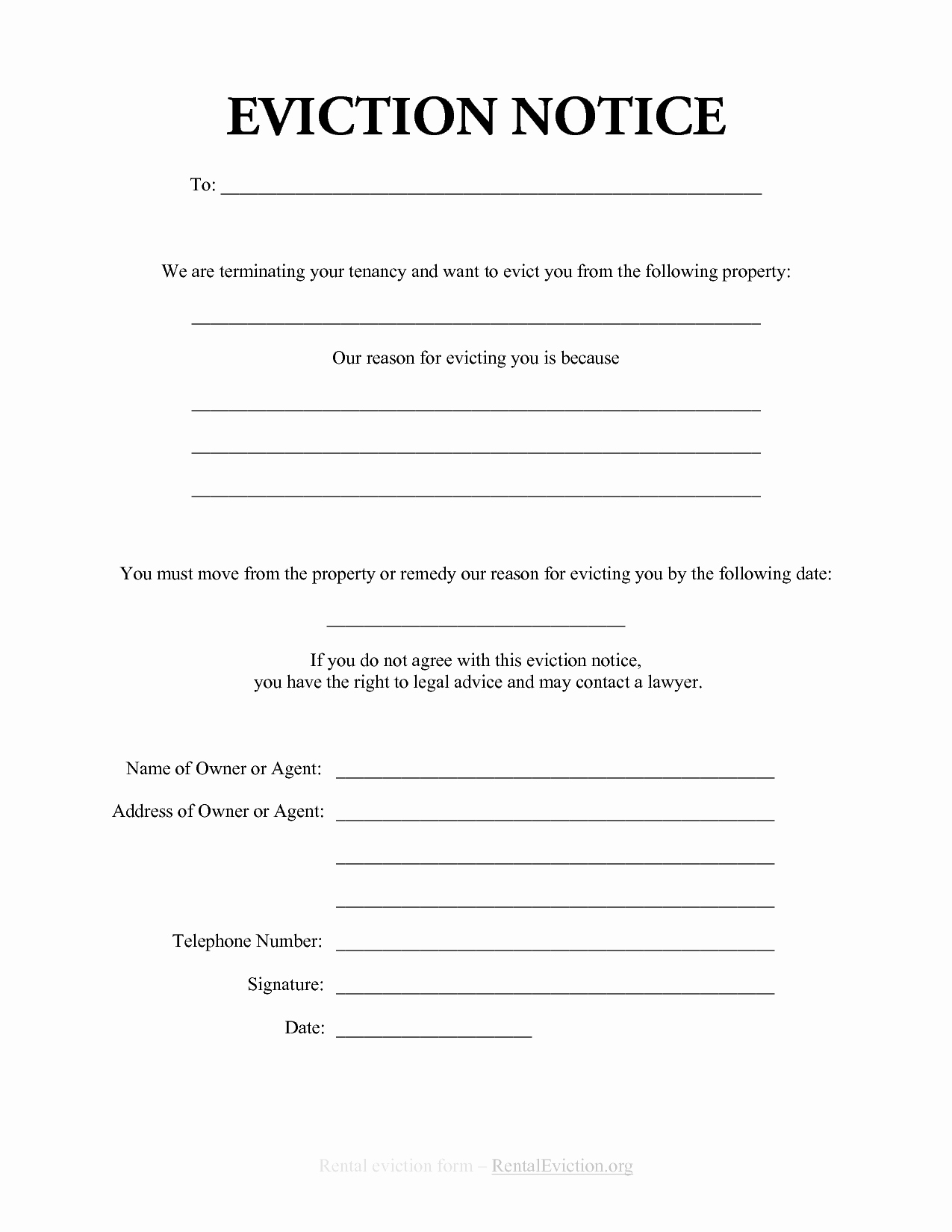Template for Eviction Notice Fresh Free Print Out Eviction Notices