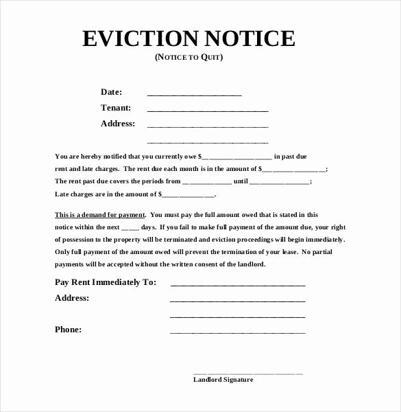 Template for Eviction Notice Unique Eviction Notice Template
