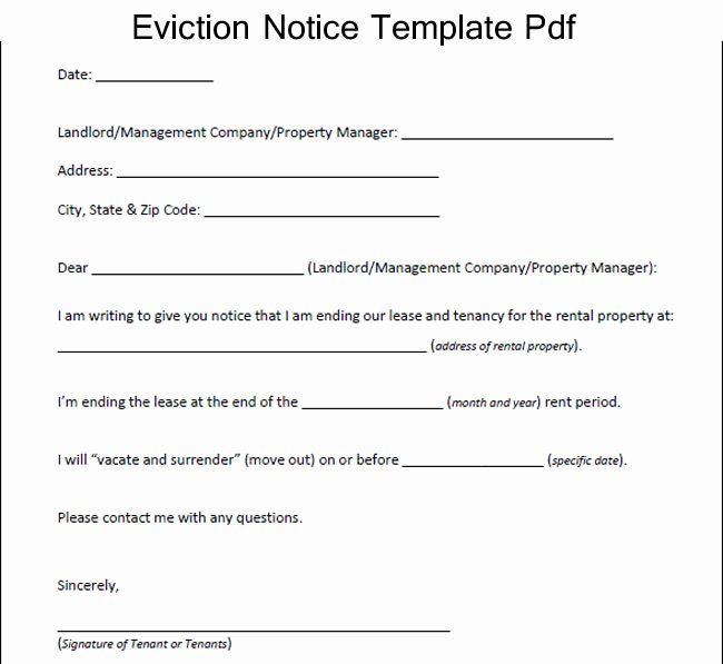Template for Eviction Notice Unique How to Write An Eviction Letter Template – Excel About