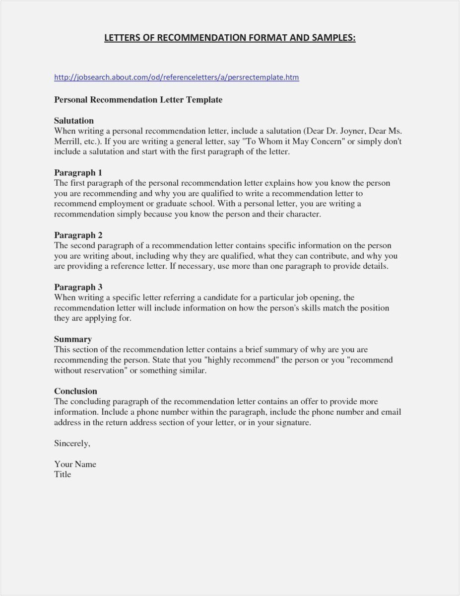 Template for Letter Of Recommendation Awesome Free Printable Letter Re Mendation Template Examples