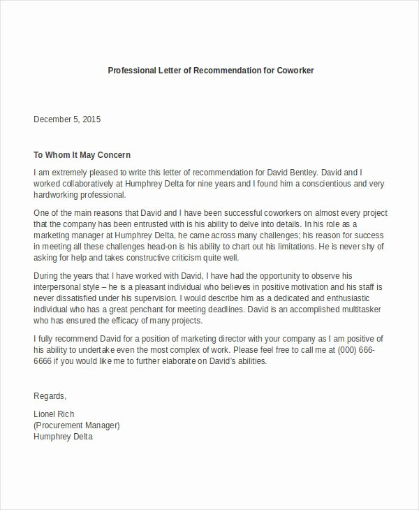 Template for Letter Of Recommendation Elegant 12 Professional Letter Re Mendation Free Pdf Word