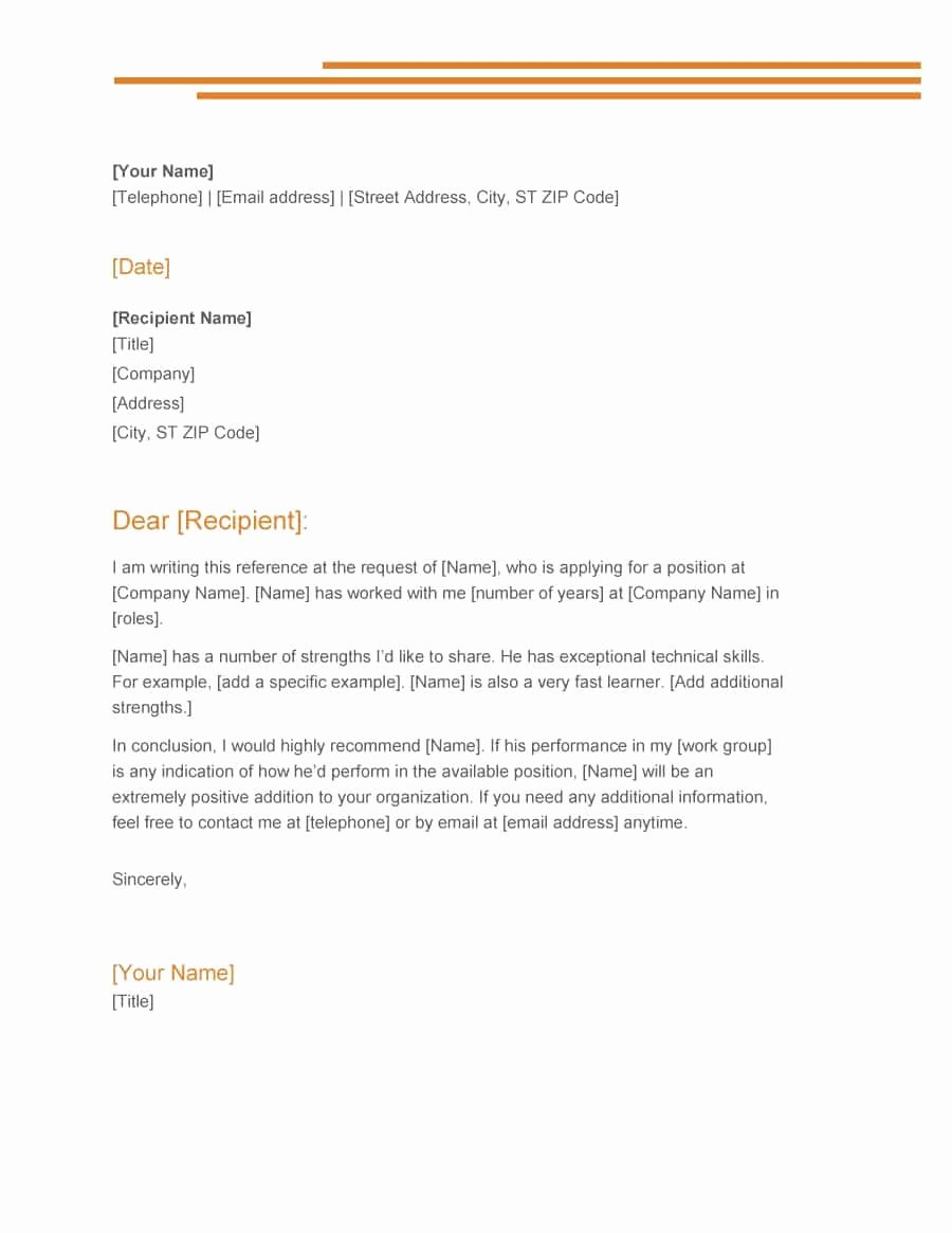Template for Letter Of Recommendation Lovely 43 Free Letter Of Re Mendation Templates & Samples