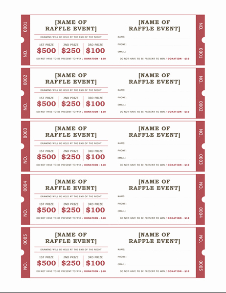 Template for Raffle Tickets Elegant Raffle Tickets