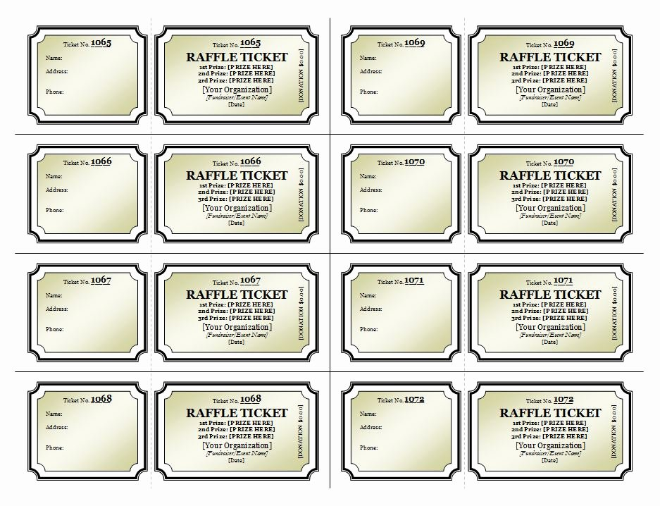 Template for Raffle Tickets Lovely Raffle Ticket Template
