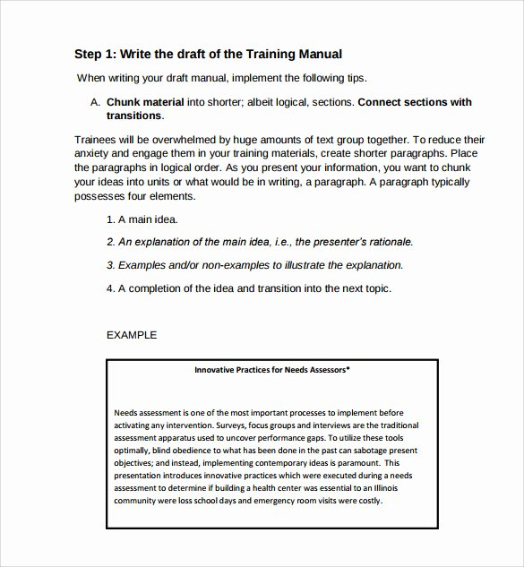 Template for Training Manual Fresh 11 Training Manual Samples Pdf