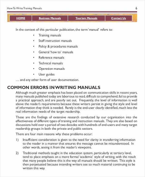 Template for Training Manual Luxury Instruction Manual Template 10 Free Word Pdf Documents