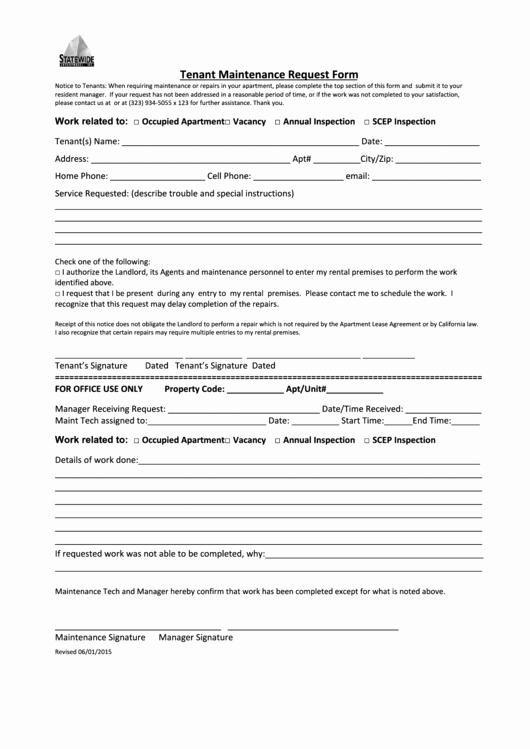 Tenant Maintenance Request form Template Best Of Tenant Maintenance Request form Statewide Enterprises