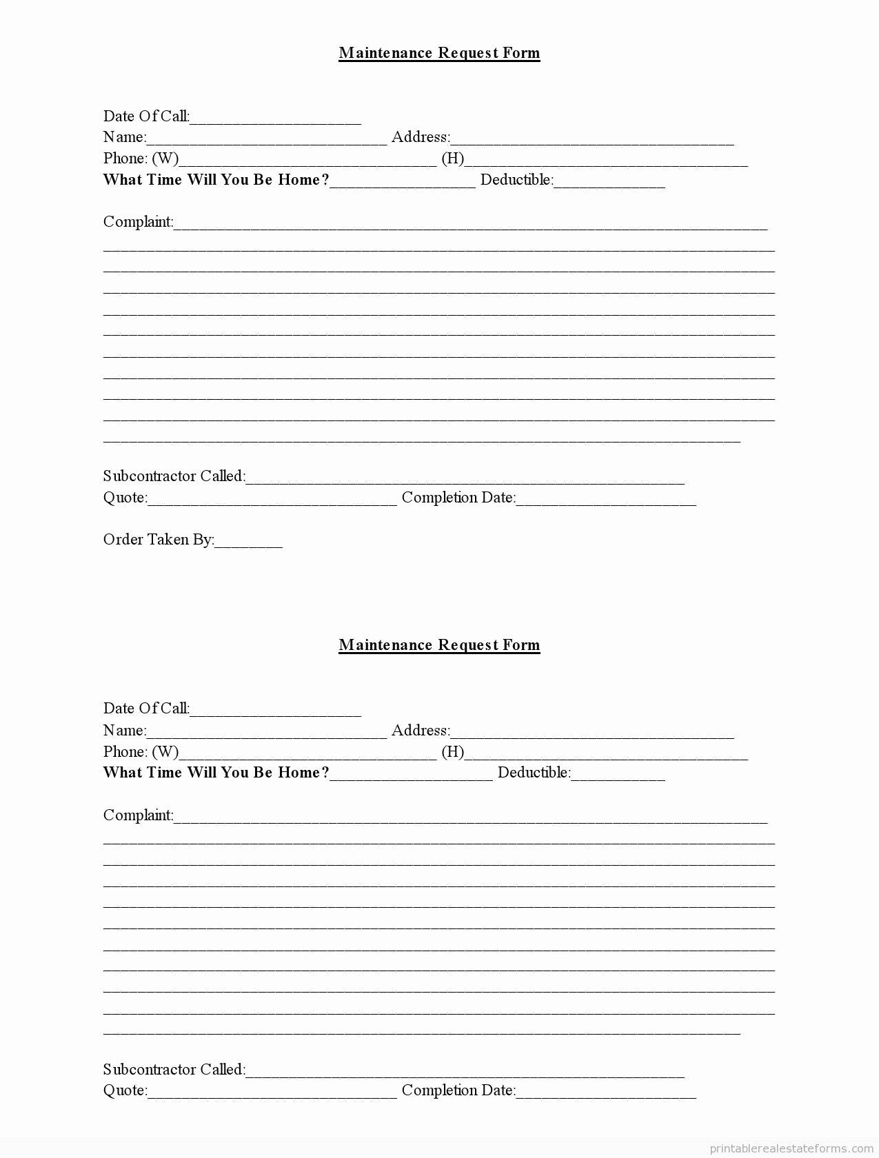 Tenant Maintenance Request form Template Fresh Maintenance Request forms Free Collectorbackuper
