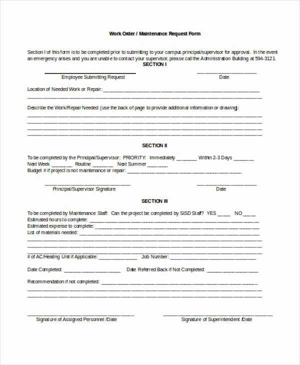 Tenant Maintenance Request form Template Inspirational Free 22 Work order form In Templates Pdf