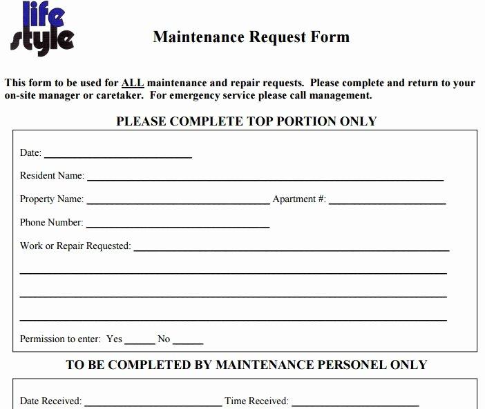 Tenant Maintenance Request form Template Luxury Maintenance Request form Template