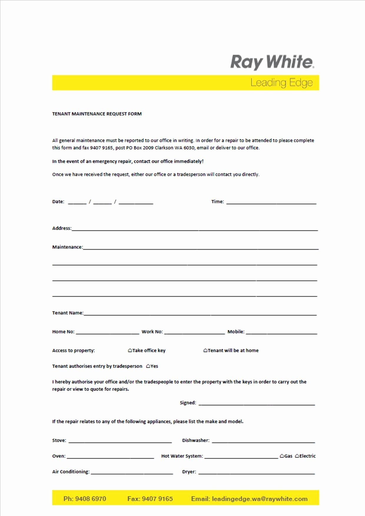 Tenant Maintenance Request form Template New New Power Of attorney form Qld
