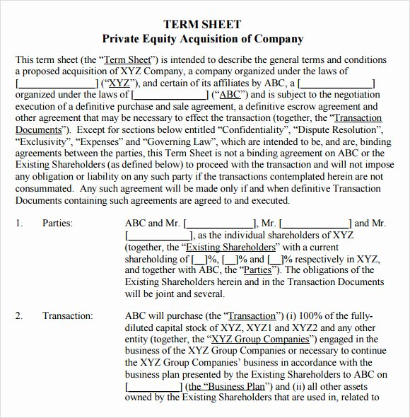 Term Sheet Template Word Beautiful Free 16 Sample Term Sheet Templates In Pdf