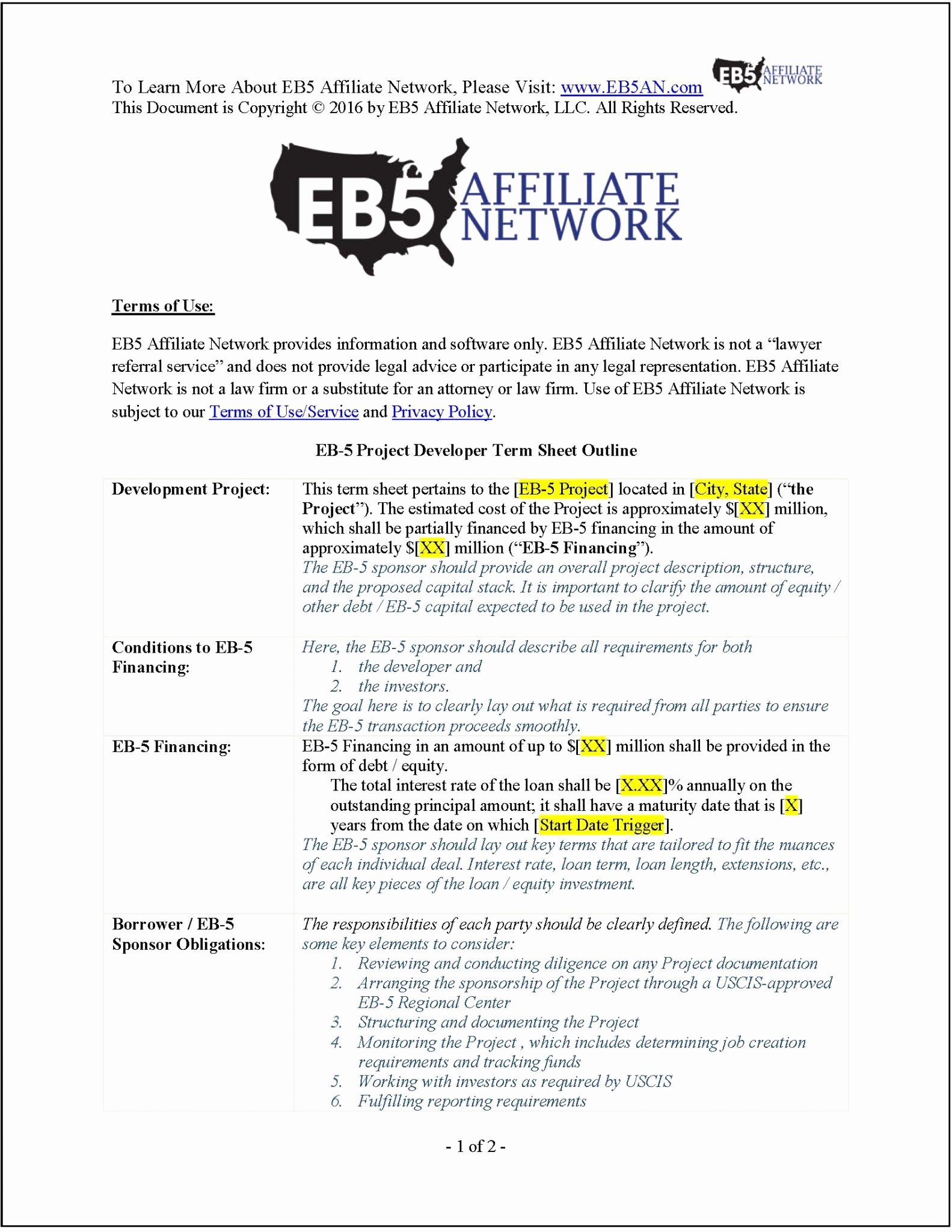 Term Sheet Template Word New Sample Eb 5 Project Developer Term Sheet