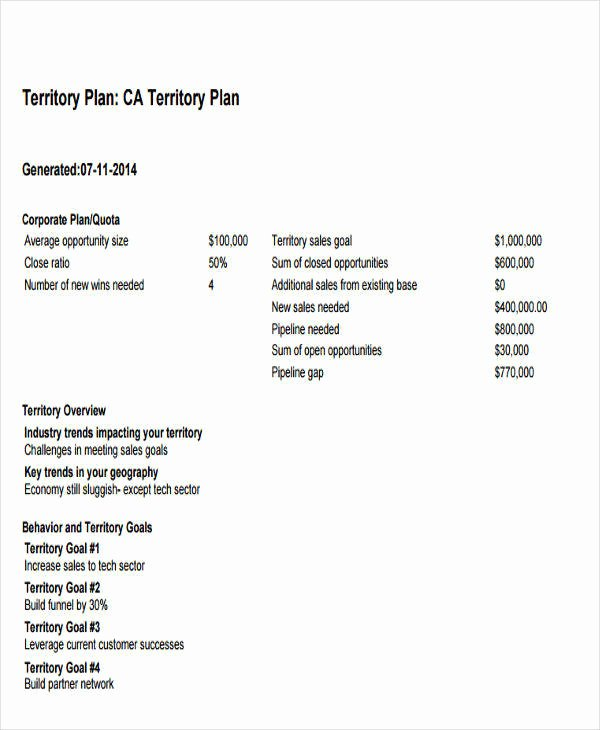 Territory Sales Plan Template Inspirational 38 Sales Plan Examples Pdf Word Docs