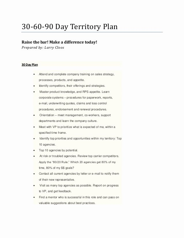 Territory Sales Plan Template Inspirational Larry S 30 60 90 Day Territory Plan