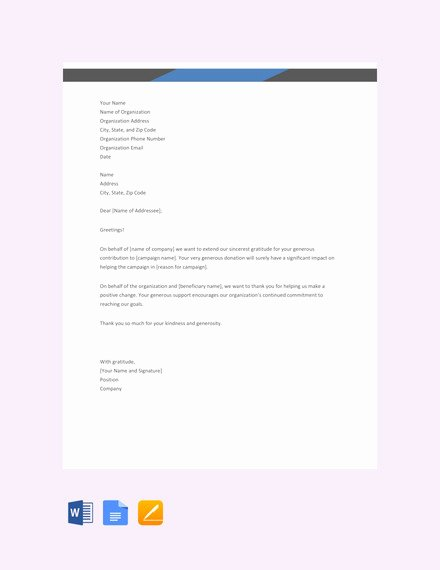 Thank You for Donation Template Beautiful 10 Sample Donation Thank You Letters Doc Pdf