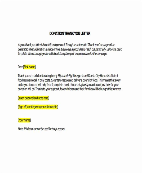 Thank You for Donation Template Luxury Free 74 Thank You Letter Examples In Doc Pdf