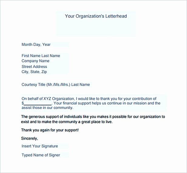Thank You for Donation Template New Thank You Letter for Donation Tips On Writing