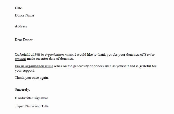 Thank You for Donation Template Unique Donation Thank You Letter Template