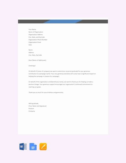 Thank You for Donation Template Unique Free 10 Thank You Letters for Donation Samples In Pdf