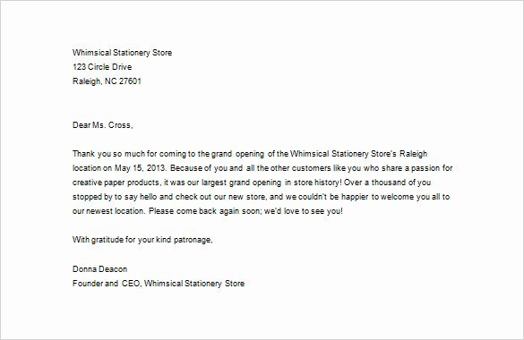 Thank You Letter Business Template Awesome Business Thank You Letter – 11 Free Sample Example