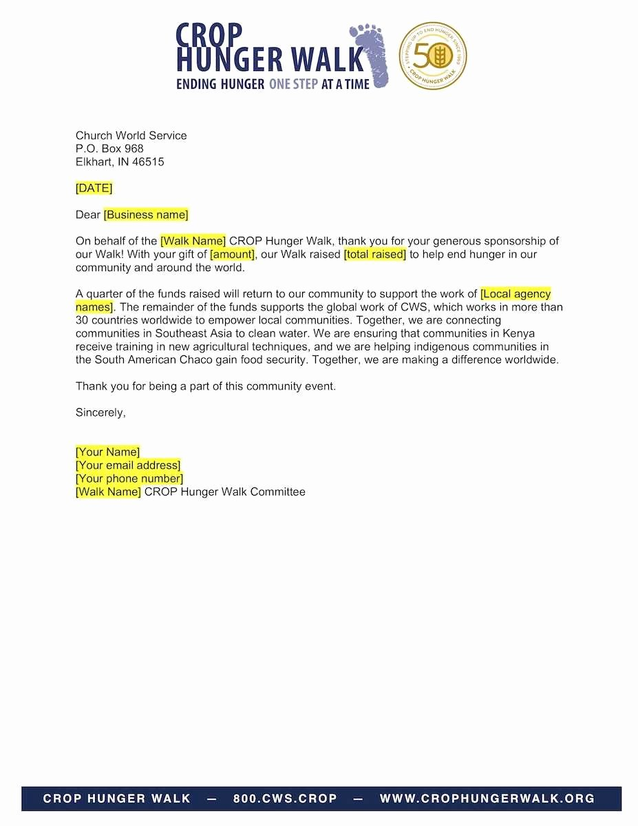 Thank You Letter Business Template Beautiful Business Sponsorship Thank You Letter Crop Hunger Walk