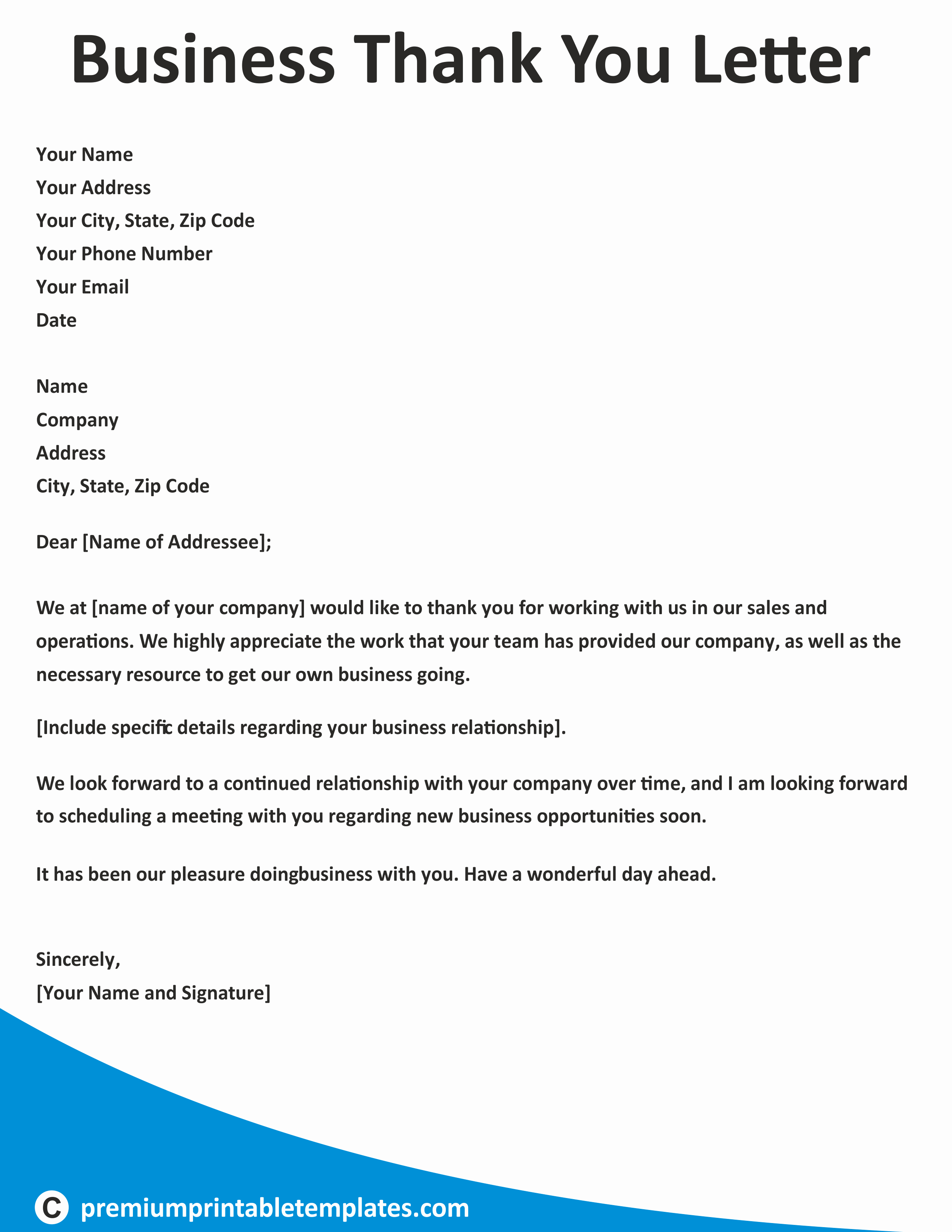 Thank You Letter Business Template Elegant Business Thank You Letter