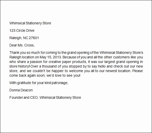 Thank You Letter Business Template Fresh Free 6 Sample Business Thank You Letters In Word