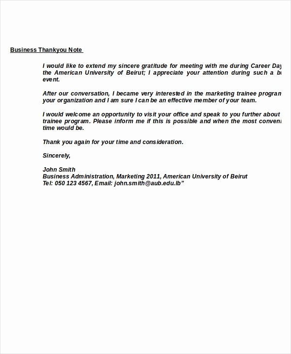 Thank You Letter Business Template Lovely Thank You Note Template 12 Free Word Pdf Documents