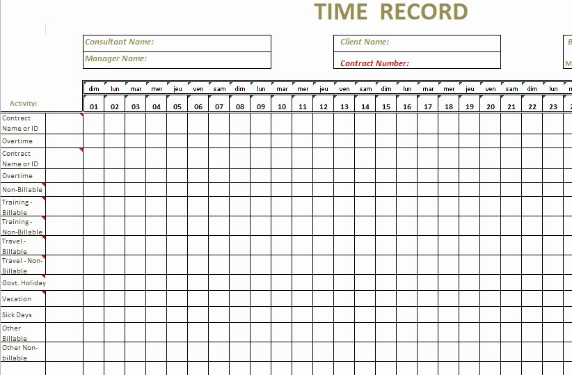 Time Log Template Excel Beautiful Monthly Timesheet Template