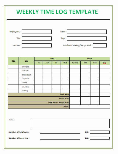 Time Log Template Excel Best Of Time Log Templates 2 Ms Word & Excel